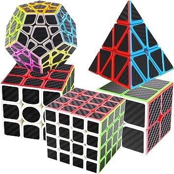 COOJA Cubo Pack 2x2 + 3x3 + 4x4 + Pyraminx + Megaminx, Cubo de Velocidad Rompecabezas Cubos Magic Cube Carbono Puzzles de Cubos: Amazon.es: Juguetes y juegos