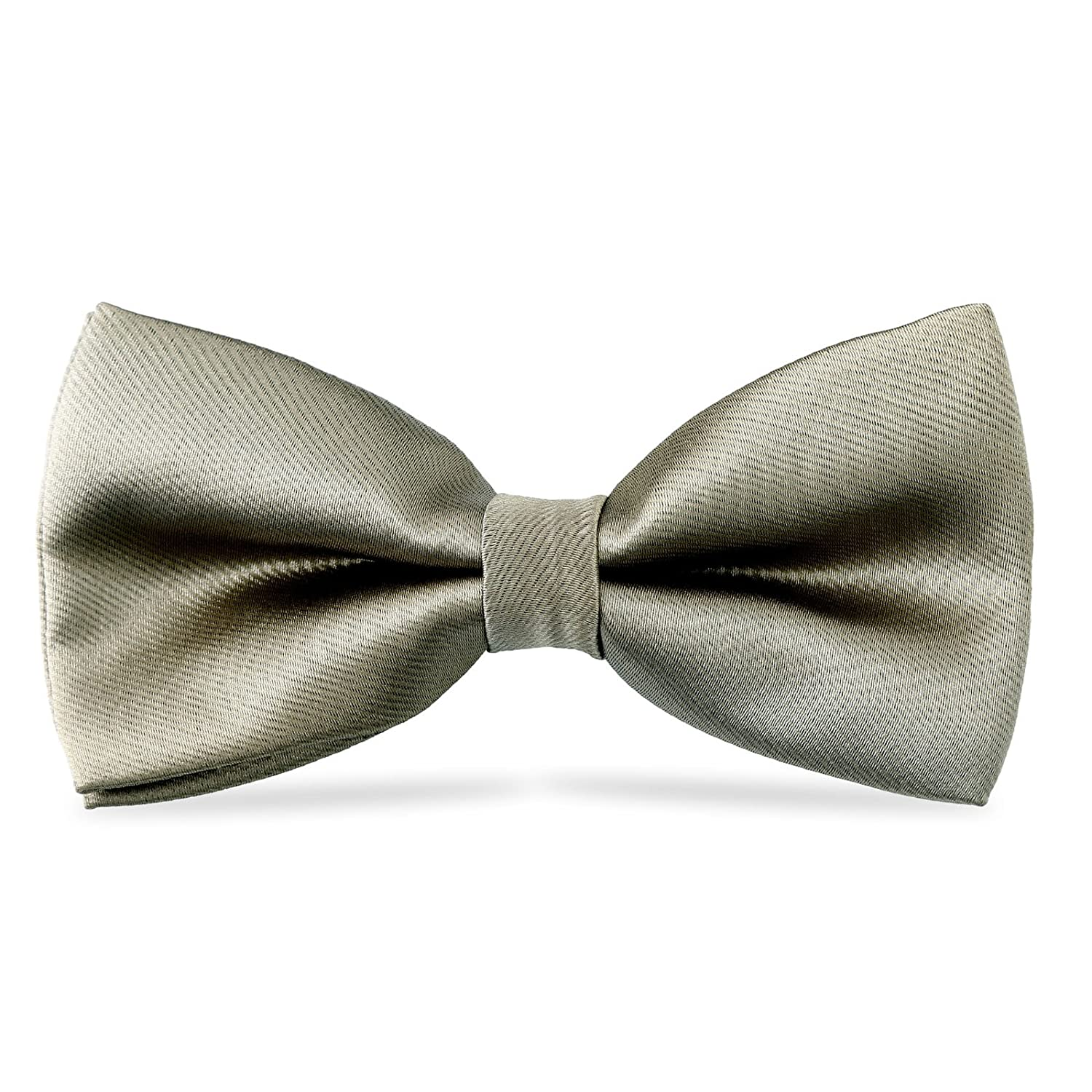 WELROG Pre Tied Solid Color kids boys children bow tie and adjustable length 10 x 5 cm silk material(Gray)
