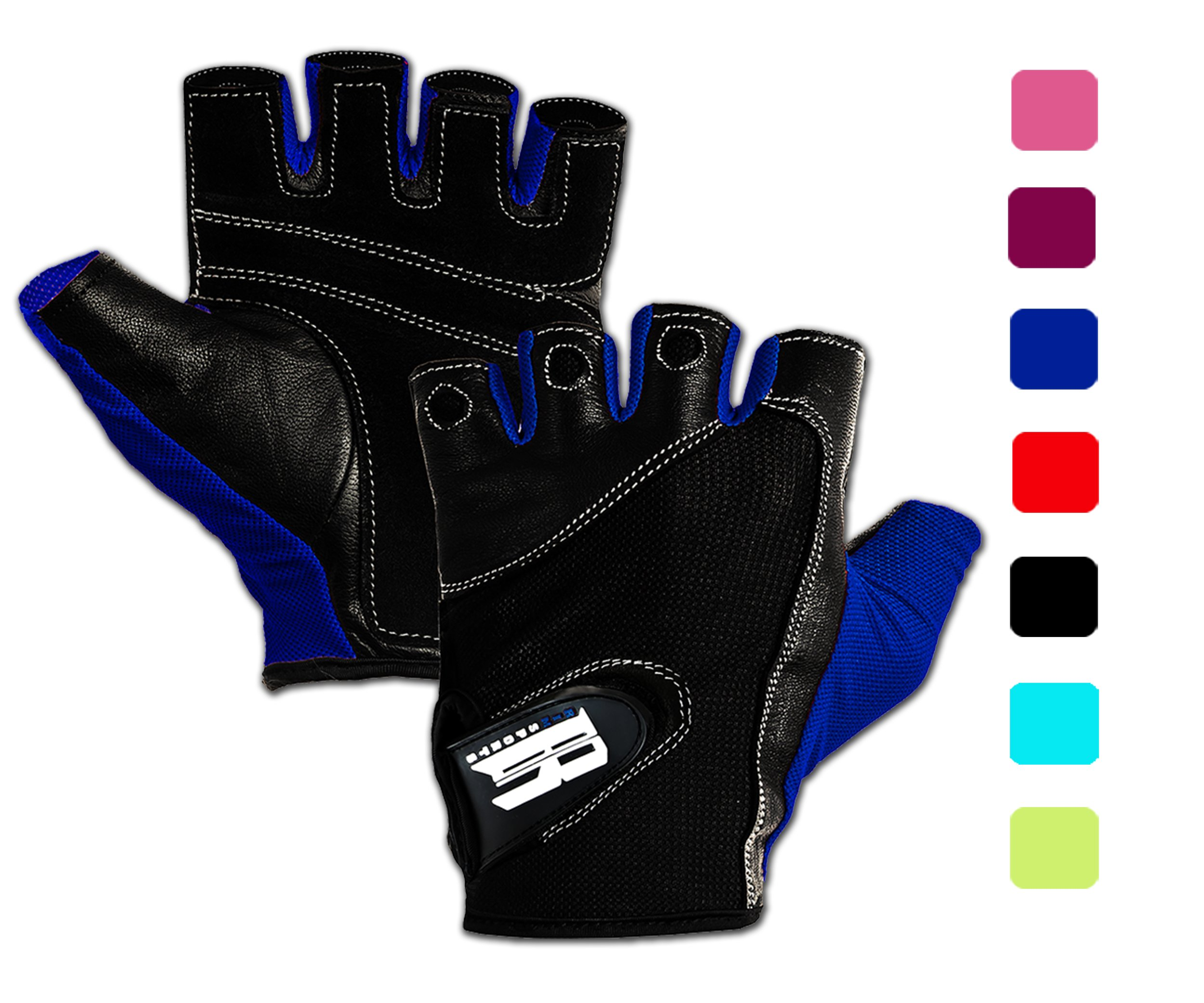 RIMSports Weight Lifting Gloves for Gym - Gym Gloves w/Washable Ideal Rowing Gloves, Workout Gloves, Premium Gloves for Core Fitness Dumbbells & Flexibility Machine (Blue XS)