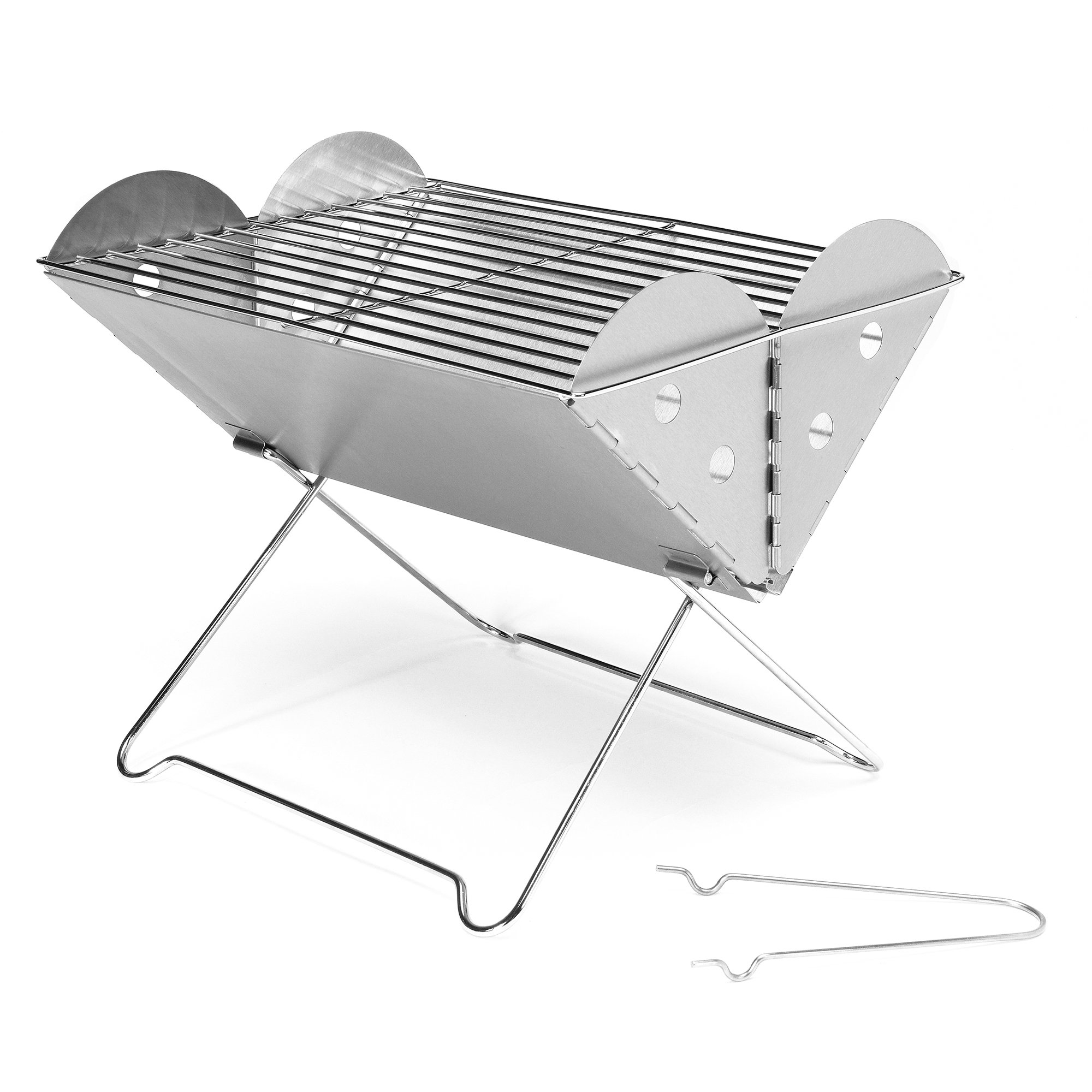 Chiefmax Portable Folding Camping Grill - Mini Stainless Steel Charcoal Barbecue Grill (Mini)