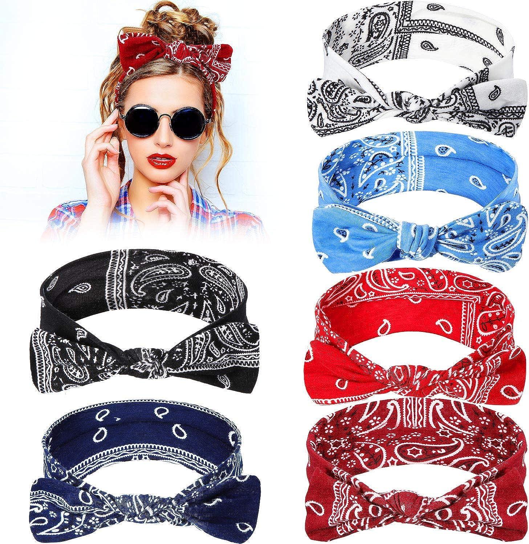 6 Pieces Paisley Headbands Boho Bow Bandana Knot Headwrap Retro Flower Printed Elastic Rabbit Ear Hairband for Girls and Women 6 Colors
