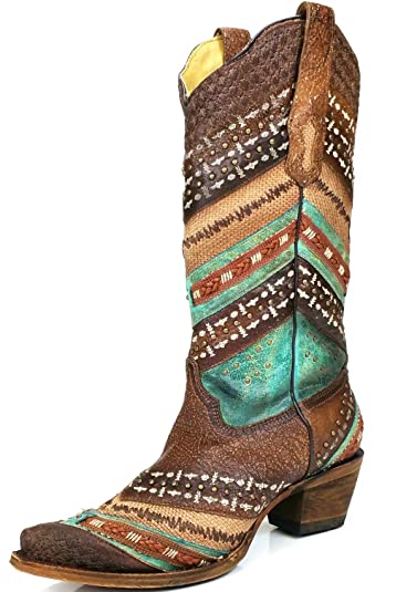 A3381 Turquoise Brown Embroidered and Studs Leather Boots