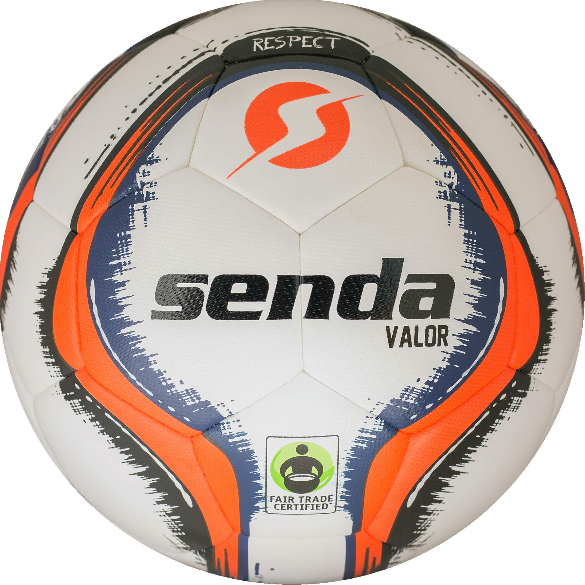 Senda Valor Match Soccer Ball, Fair Trade Certified, Orange/Navy Blue, Size 5 (Ages 13 & Up) by S Senda (Image #1)