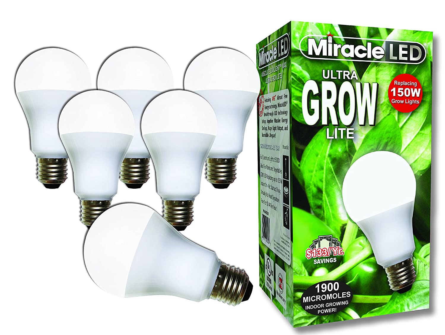 Miracle LED Commercial Hydroponic Ultra Grow Lite - Replaces up to 150W - Daylight White Full Spectrum LED Indoor Plant Growing Light Bulb For DIY Horticulture & Indoor Gardening (604289) 6 Pack