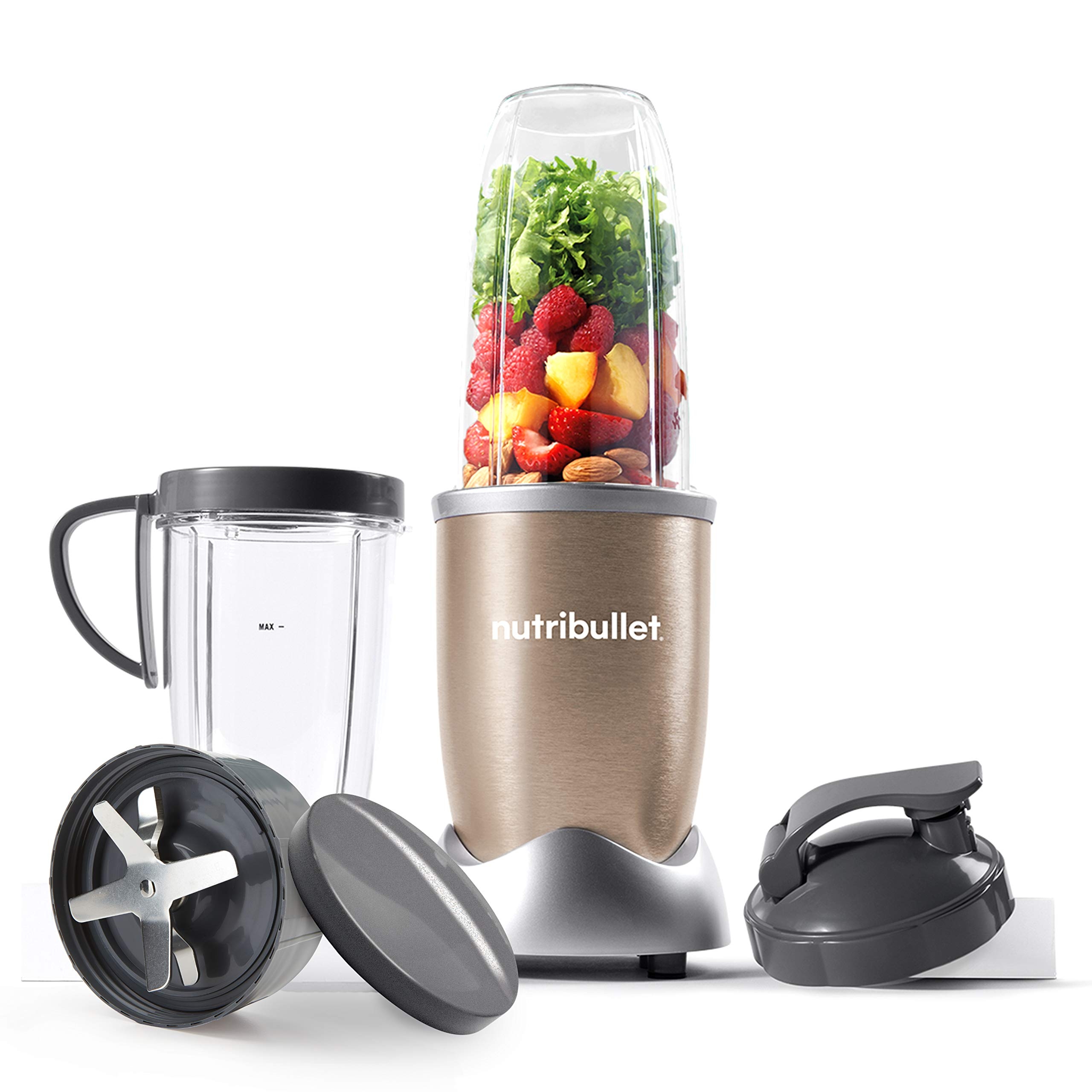 NutriBullet 900W Blender Champagne Multi-Function Cold Beverage Smoothie Maker – 2 Cup Sizes and Stay Fresh Lid