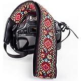 Red Vintage Camera Shoulder Strap Belt for All DSLR Camera ? Vibrant Design Universal DSLR Strap, Embroidered Vintage…