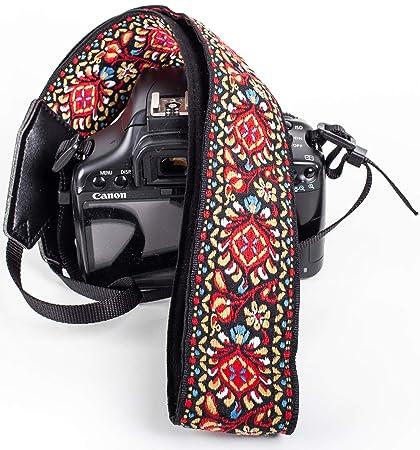 Correa de cámara Vintage roja para cámaras DSLR: Amazon.es ...