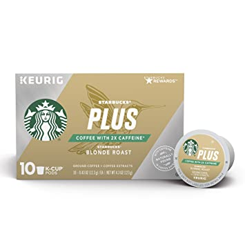 a8dc80991e5 Starbucks Plus Coffee Blonde Roast 2X Caffeine Single Cup Coffee for Keurig  Brewers, 6 Boxes