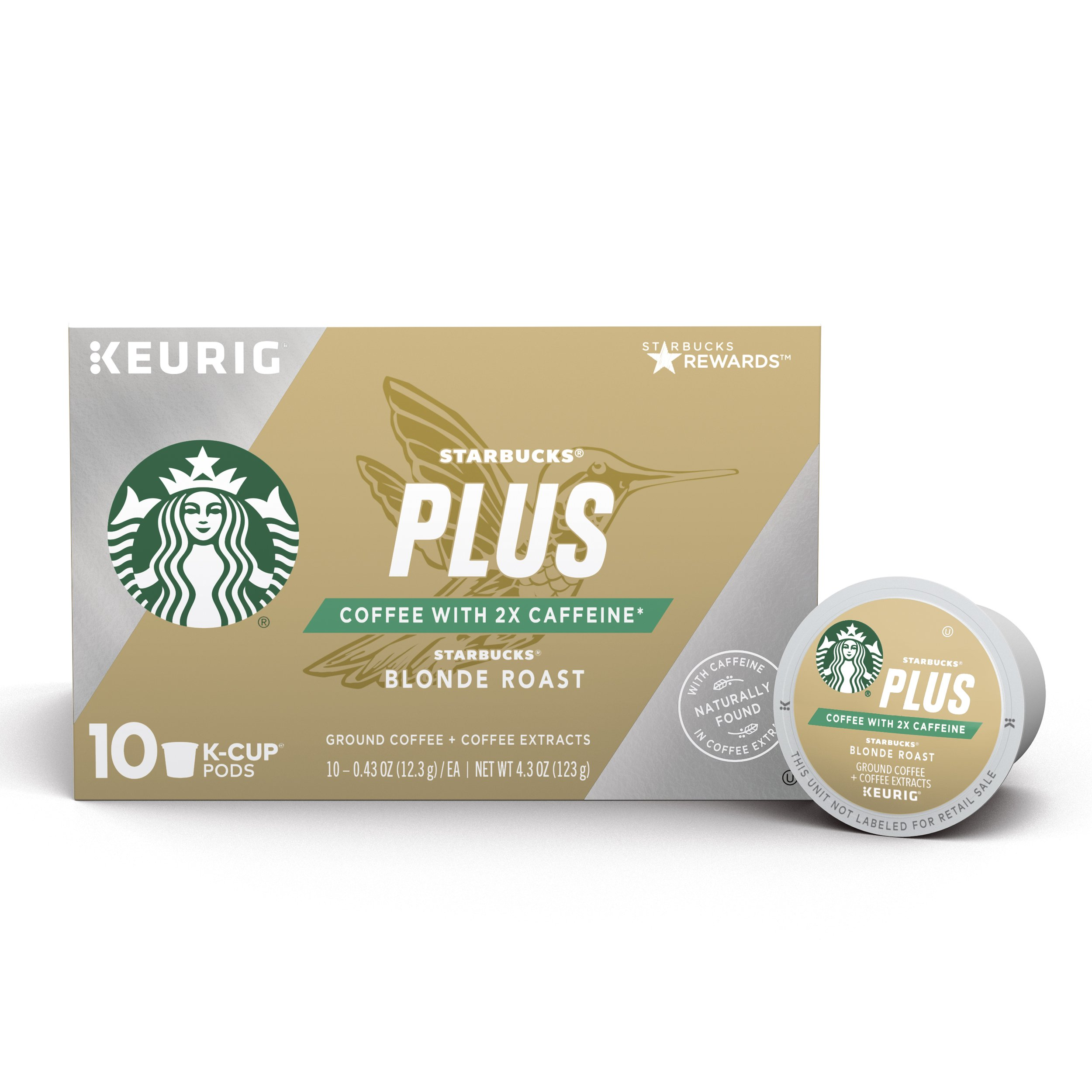 Starbucks Plus Coffee Blonde Roast 2X Caffeine Single Cup Coffee for Keurig Brewers, 6 Boxes of 10 (60 Total K-Cup Pods)