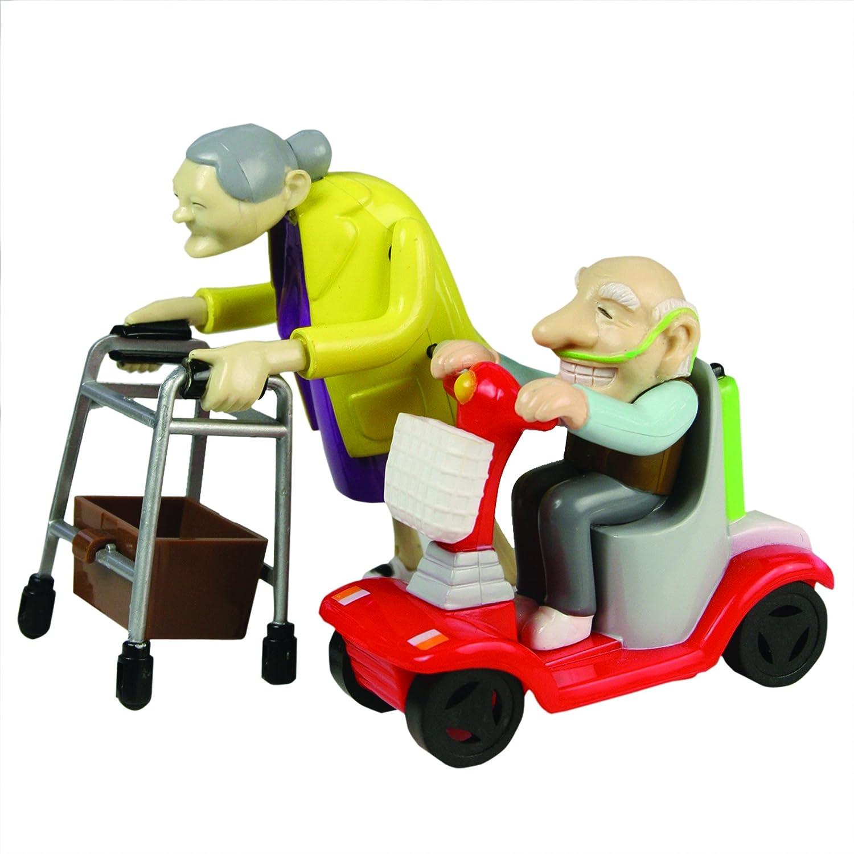 Bluw 27470 Rennen Oma und Opa, Aufziehspielzeug, Kunststoff, 2er Set-das Grannies Geschenk für Großeltern Aufziehfiguren mit Rollator und Mobil