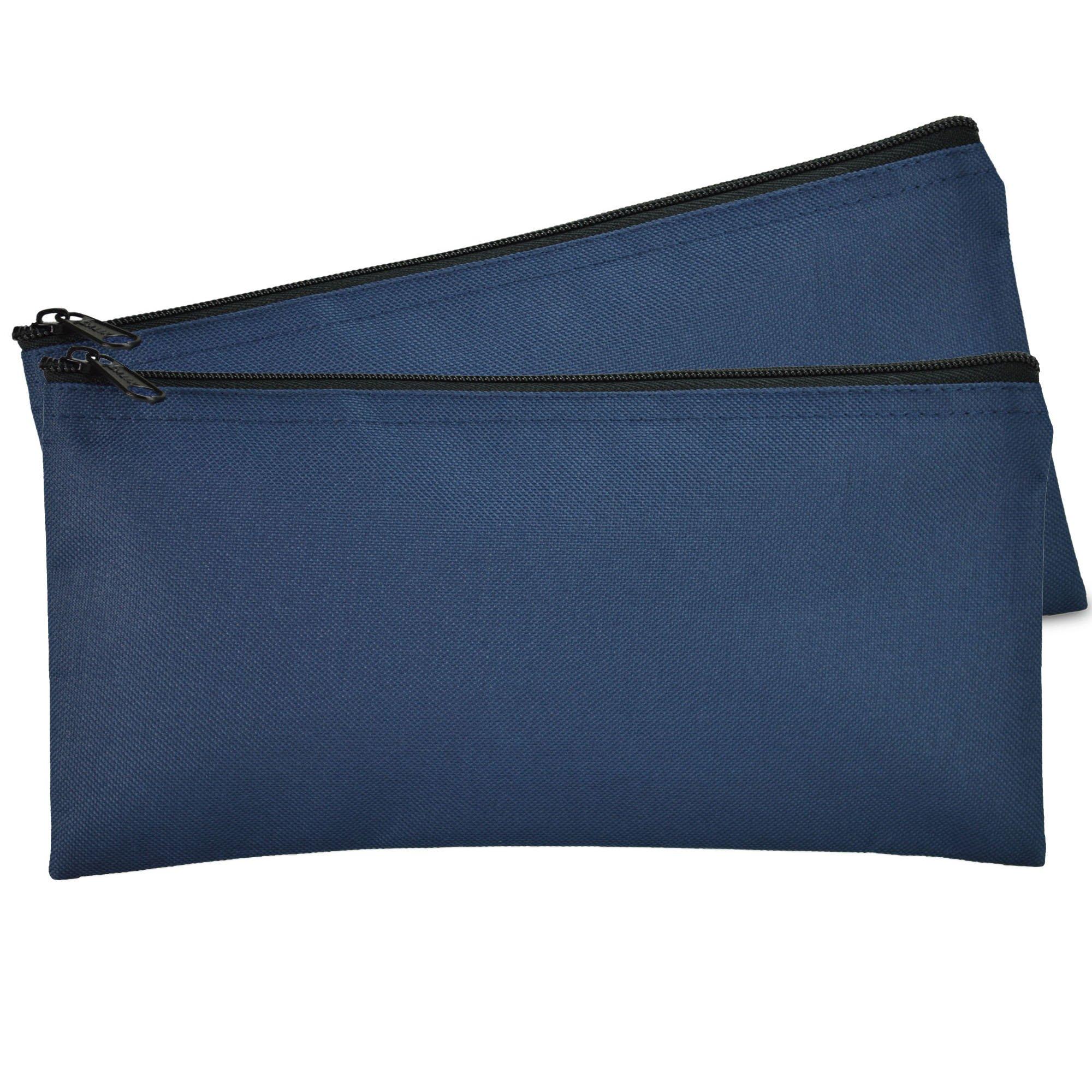 DALIX Bank Bags Money Pouch Security Deposit Utility Zipper Coin Bag Blue 2 Pack