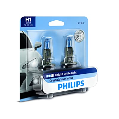 Philips H1 CrystalVision Ultra Upgrade Bright White Headlight Bulb, 2 Pack: Automotive