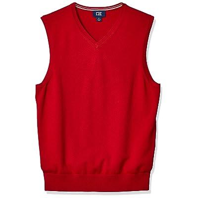 Cutter Men's Cotton-Rich Lakemont Anti-Pilling V-Neck Sweater Vest at Men's Clothing store