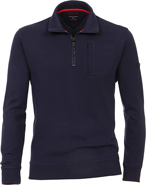 Casa Moda Herren Sweat Troyer unifarben mit