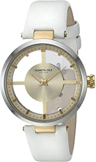 Kenneth Cole New York Womens 10022539 Transparent Analog Display Japanese Quartz White Watch