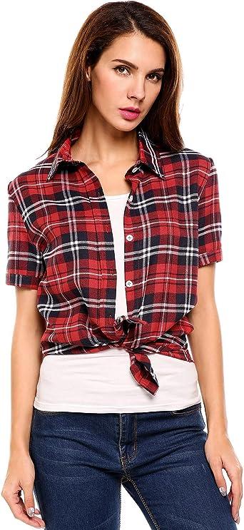 SUNAELIA camisa de franela a cuadros para mujer, manga corta ...