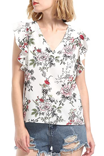 165b5f820914fc Women White Floral Chiffon Blouse Ruffled Short Sleeve V Neck Tops for  Summer at Amazon Women's Clothing store: