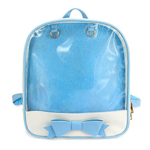 SteamedBun Ita Bag Candy Leather Backpack Bowknot Transparent Beach Girls School