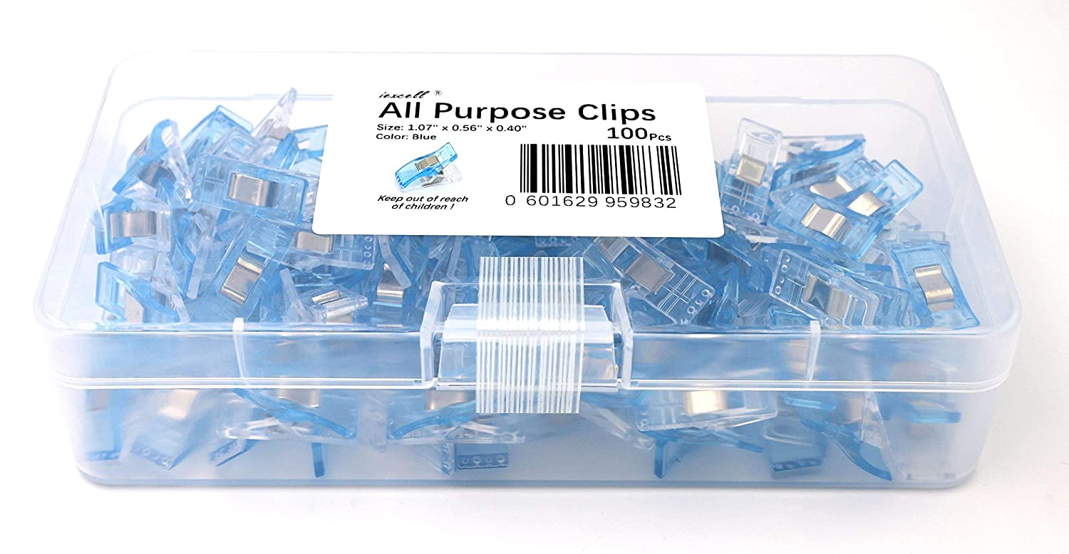Crochet Best for Sewing Clips Crafters Knitting iExcell 100 Pcs Blue All Purpose Craft Clips Quilting Clips