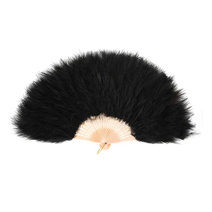 1920s Accessories: Feather Boas, Cigarette Holders, Flasks Metme Hand Fan Flapper Costume Accessories Roaring 20s Feather Folding Handheld for Dancing Party $13.99 AT vintagedancer.com