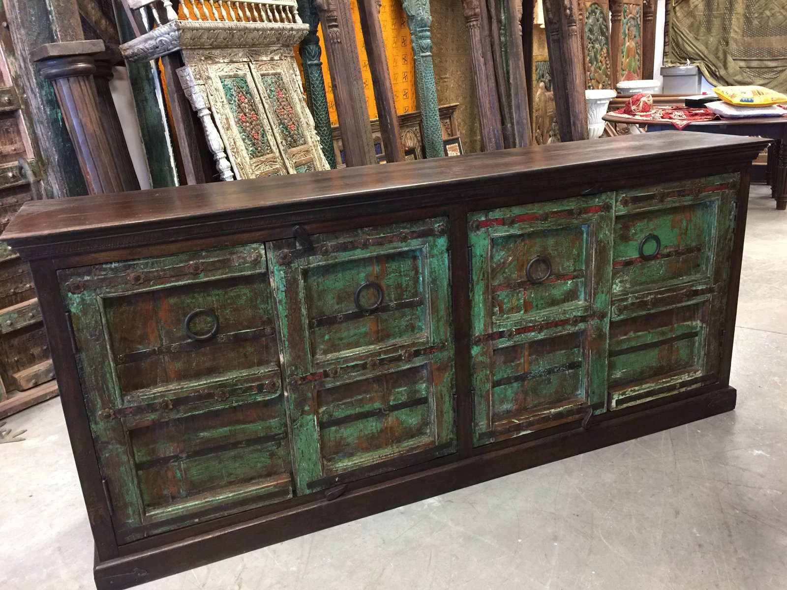 Mogulinterior Antique Hand Carved Chest Brown Green Sideboards Chest TV Console Buffet Storage Cabinet Rustic Spanish Style