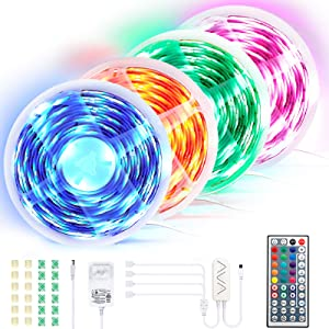 65.6 ft LED Strip Lights, 4 pcs Ultra-Long RGB LED Tape Light Strip, APP & Remote Controlled, Music Sync & Timer Mode, DIY Color, Cutting Design, Decoration & Lighting for Room Ceiling TV Showcase