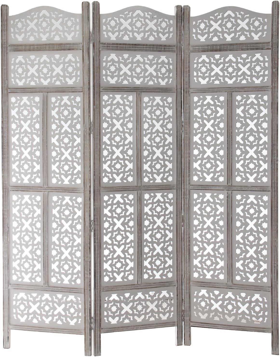 DRW - Biombo de 3 Hojas de Madera Calada en Color Blanco 151,5x2,5x180cm: Amazon.es: Hogar