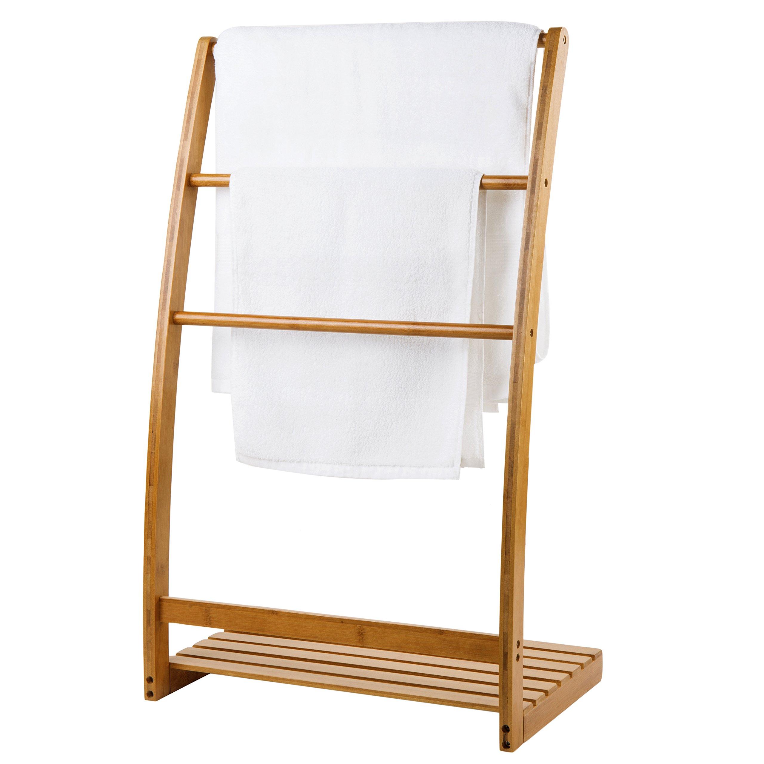 MyGift 33-Inch Freestanding Bamboo 3-Bar Towel Rack with Shelf