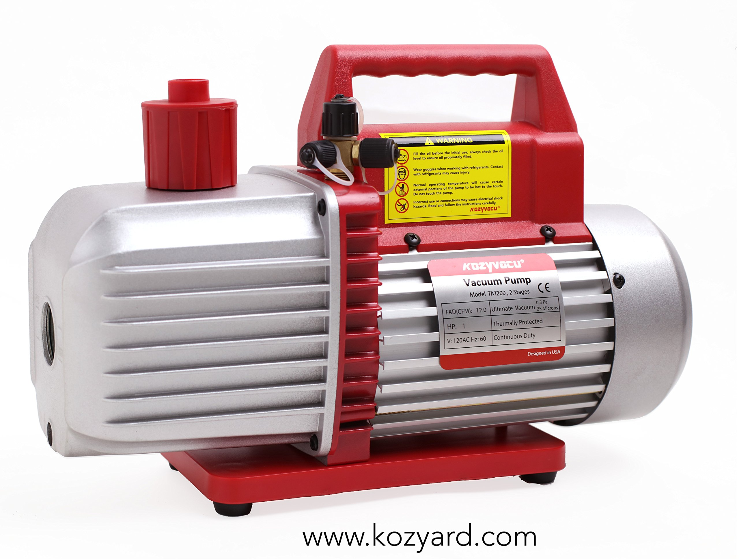 Kozyvacu 12CFM Professional Two-Stage Rotary Vane Professional Vacuum Pump (25 Micron, 1HP) for HVAC/Auto AC Refrigerant Recharging, Degassing Wine or Epoxy, Milking cow or lamb, Food processing etc.