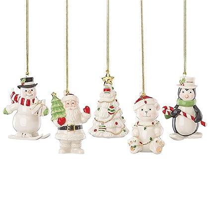 Amazon.com: Lenox Christmas Ornament Gift Set 5 Piece Snowman ...