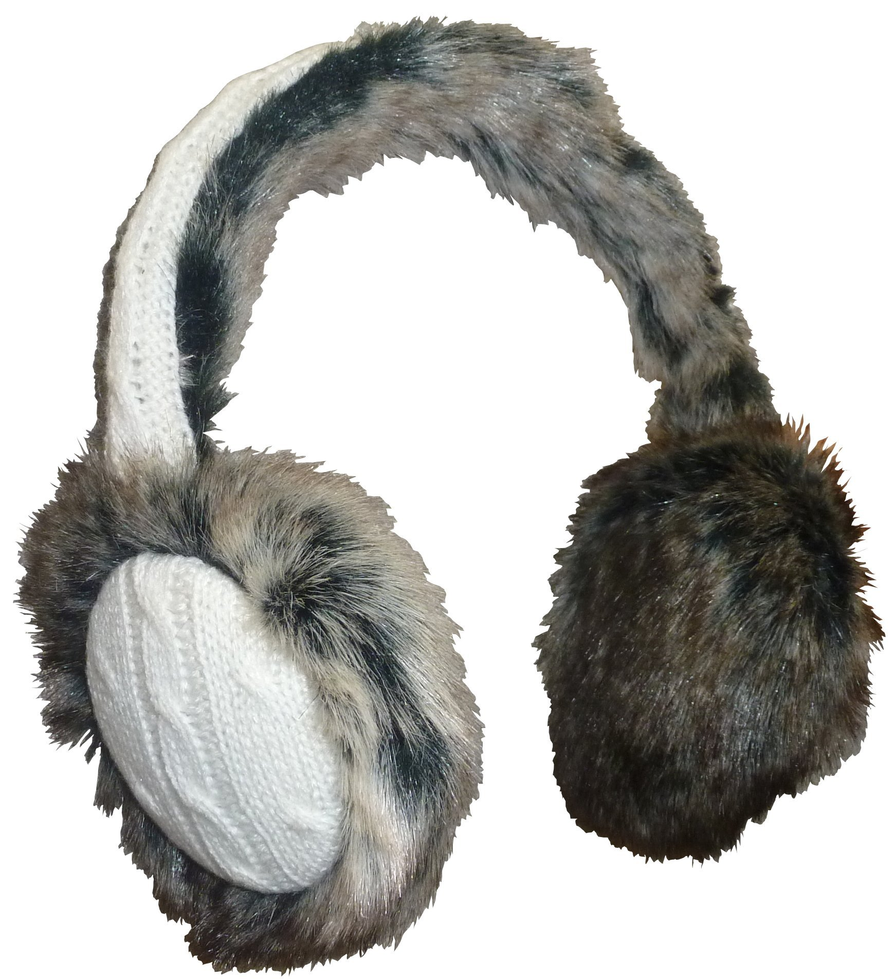 N'Ice Caps Girls And Adults Faux Mink Trimmed Adjustable Ear Muffs (One size fits all, winter white/black-brown)