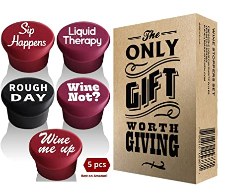 Amazon 5 wine stoppers gift box perfect wine gift 5 wine stoppers gift box perfect wine gift accessory set of 5 funny negle Choice Image