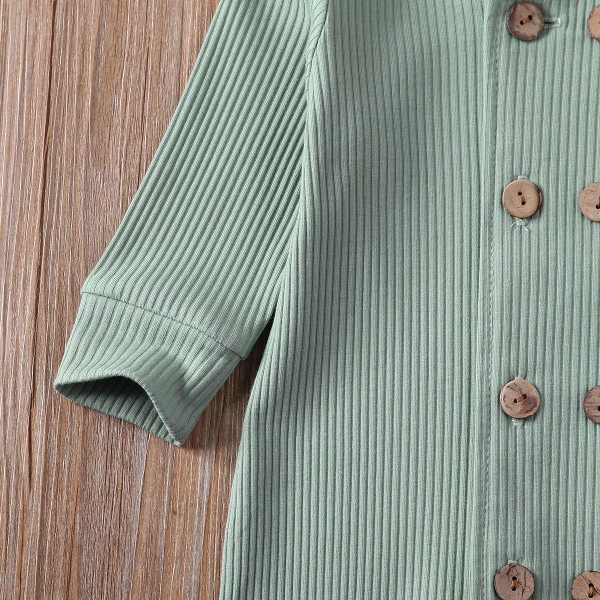 Unisex Baby Girls Boys Long Sleeve Romper Solid Color Bodysuit Jumpsuit Pants Ribbed Pajamas Clothes Set 0-24M