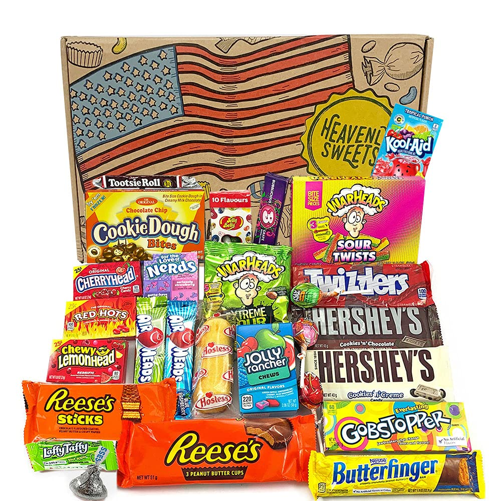 Heavenly Sweets American Candy and Chocolate Hamper Box - Classic USA Brands Set, Tasty Treats, Perfect Gift for Children, Adults - Birthday, Christmas, Easter Fillers - 27 Sweets, 30x20x5cm Package