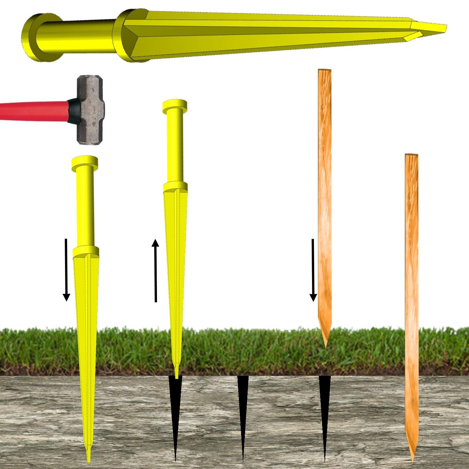 KEYFIT Tools Land Staker Make Perfectly Straight Pilot Holes in Tough Ground Rocks Hardpan Clay for Wood Stakes, Bamboo Stakes, Garden Stakes, Grading Stakes, Survey Stakes, Tent Stakes, Wood Lath,
