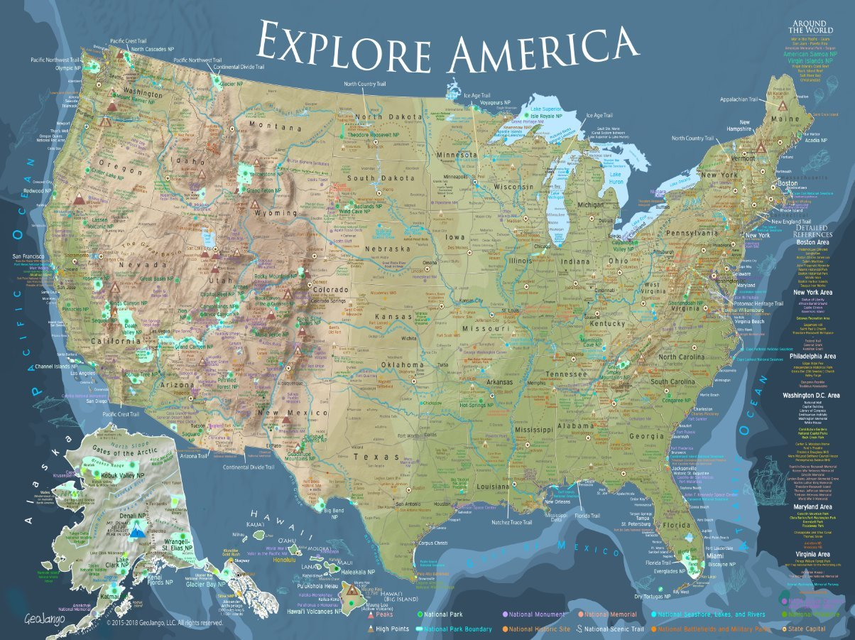 GeoJango Maps National Parks Map Poster with All 600+ NPS Sites and USA Travel Destinations (24W x 16H inches) by GeoJango Maps
