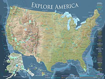 Amazon.com: GeoJango Maps National Parks Map Poster with All 600+ ...