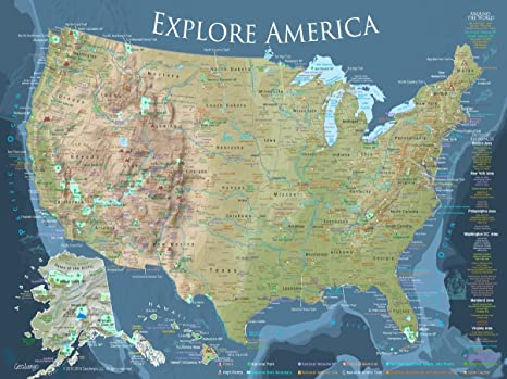 GeoJango Maps National Parks Map and USA RV Travel Map Poster Includes All  National Park Sites (24W x 18H inches)
