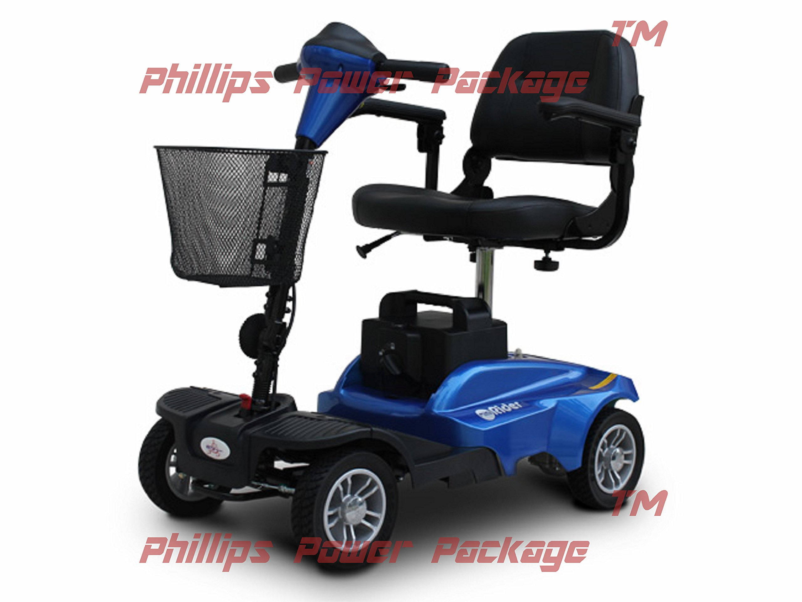 EV Rider - Mini Rider Compact Scooter - 4-Wheel - Metallic Blue - with PHILLIPS IN HOME SERVICE POWER PACKAGE (1 year) - UP TO A $500 VALUE