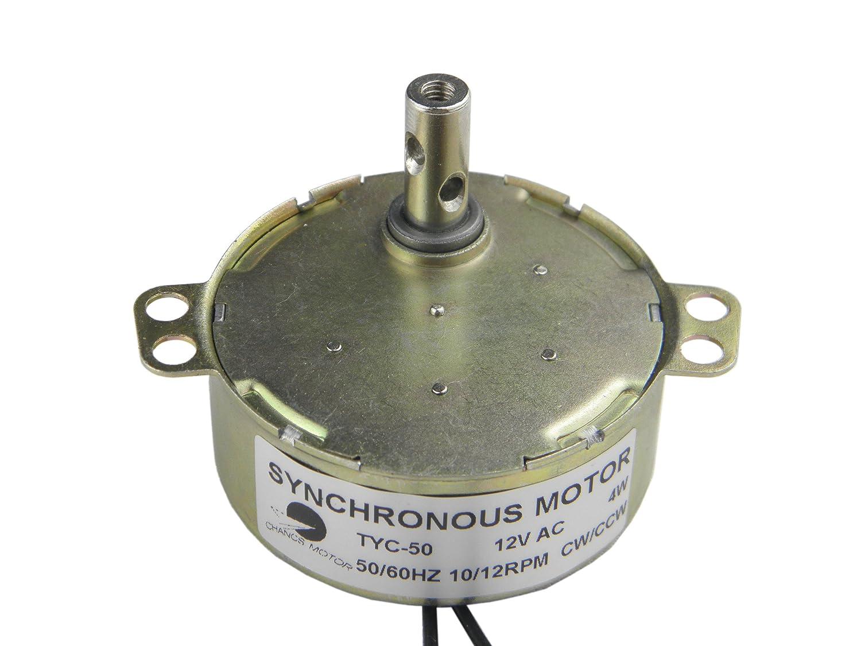 TYC-50 AC 12V Vitesse Moteur synchrone 10-12RPM CW//CCW Torque 4kg.cm 4W Puissance Courant Alternatif
