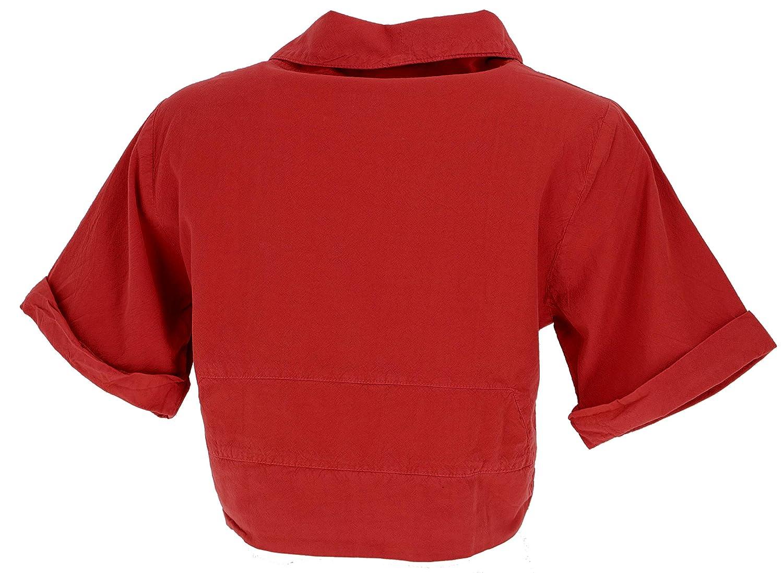 Guru-Shop Boho Bolero blus, blusskjorta, omlotta, kvinnor, bomull, blusar & tunikas alternativ klädsel roströd