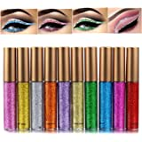 Glitter Liquid Eyeliner, COOSA 10 Colors Waterproof Shimmer High Pigmented Silver Gold Metallic Colorful Eyeliners Long…