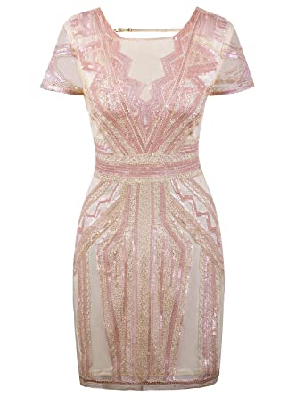 Vijiv Flapper Dresses 1920s Gatsby Art Deco Sequin Inspired Style Party Homecoming  Dress Beige Pink XS 85b2f9324
