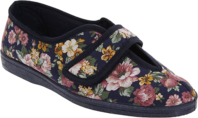 Ladies Wide Fit Washable Rubber Sole Full Slippers Navy Flowers Size 3 4 5 6 7 8