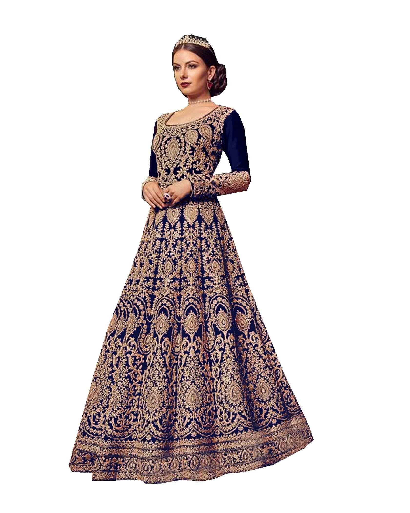 Indian/Pakistani Ethnic Wear Anarkali Salwar Suit for Womens VN 5902 (Blue, XL-44)