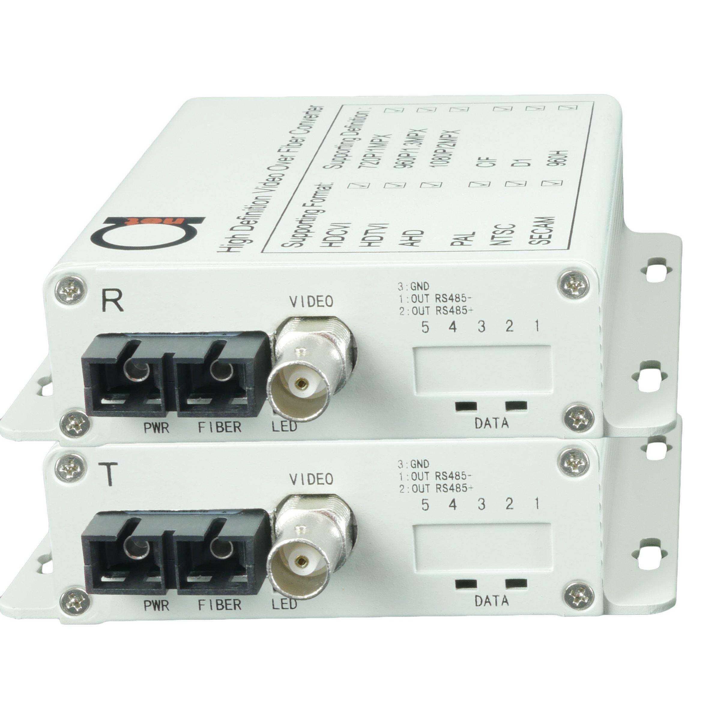 Fiber Converter - Extender Set for HD 1080p & 2560x1920 (AHD | TVI | CVI | CVBS - 4-in-1) Video CCTV Over Fiber - Single & MultiMode - 1 km MM (0.62 mi) 20 km SM (11.42 mi) Transmitter & Receiver 5MPx by ADnet