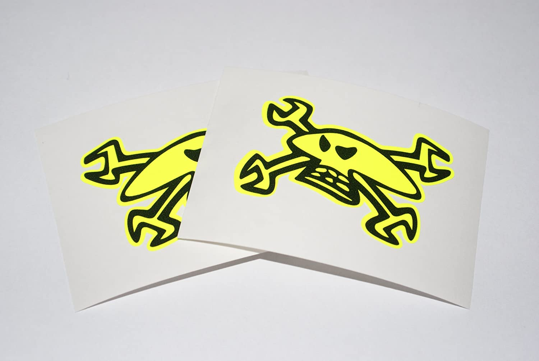 Rapro Graphics Guy Martin Visor Decals/Stickers-mirrored Pair- Flo Yellow/Black