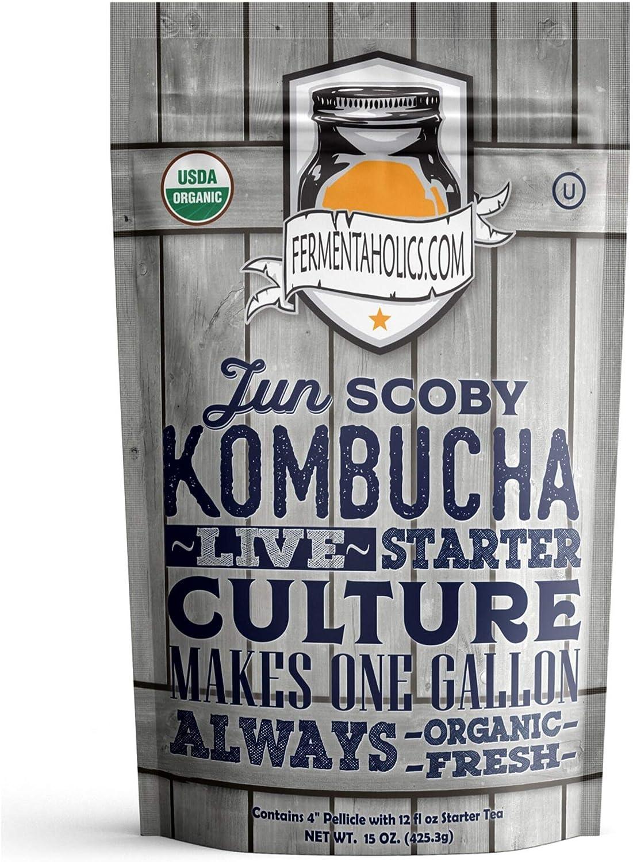 Fermentaholics Junio de Kombucha Starter Pack (Scoby + Té de arranque) tan ligera: Amazon.es: Hogar