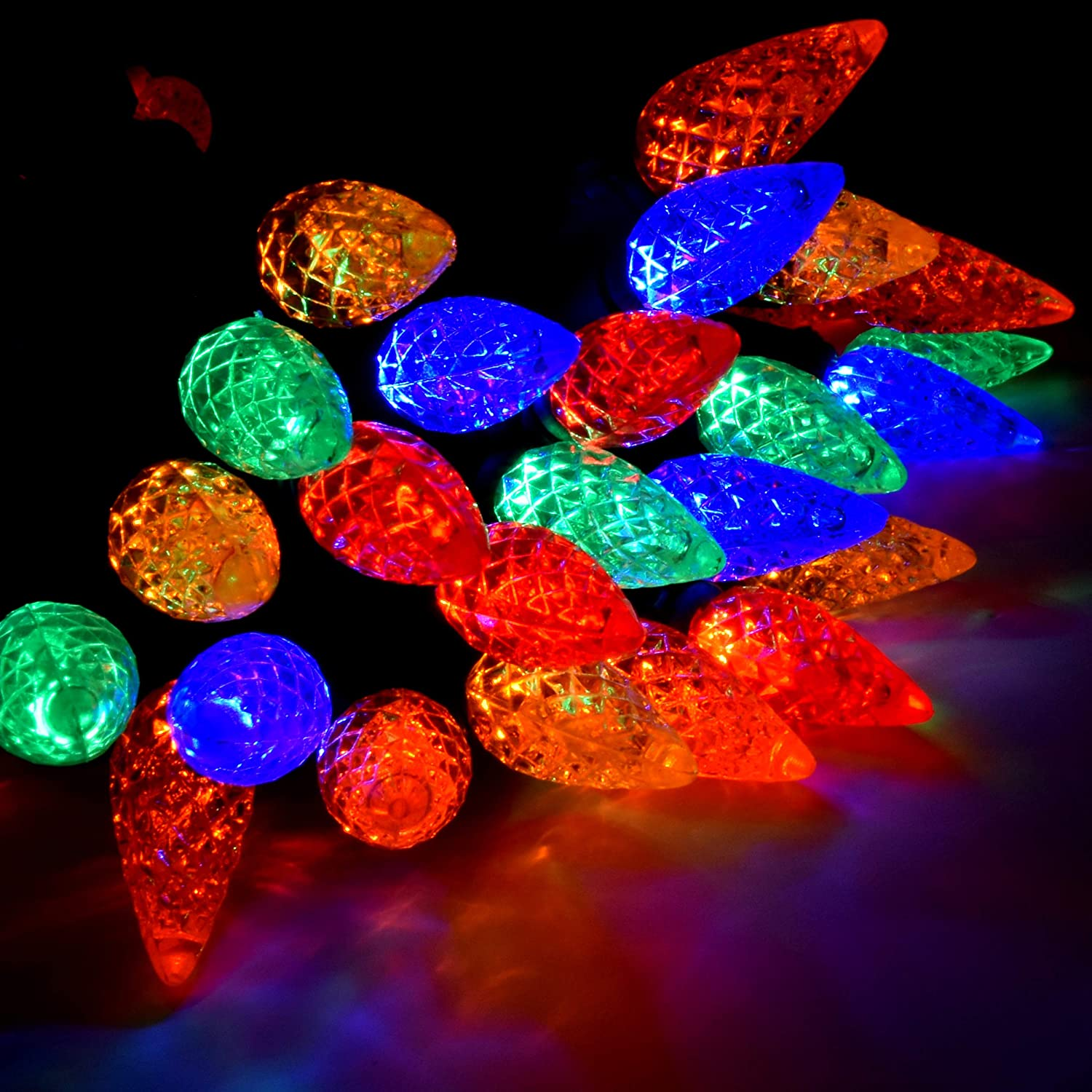UL Listed Professional Grade Holiday Essence Led Christmas Multi Color Lights 60 C6 Faceted LED Decorative String Light Set Indoor and Outdoor Use Energy Efficient LED Bulbs with Green Wire