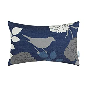 CaliTime Canvas Bolster Pillow Cover Case for Couch Sofa Home Decoration Floral Cartoon Shadow Bird Silhouette 12 X 20 Inches Navy Ground Grey Bird